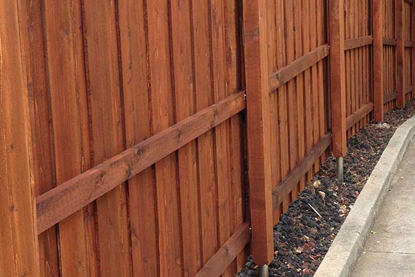 Cedar Fence with Boxed-In Posts